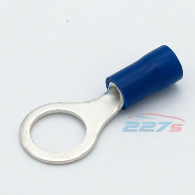 100x Blue Ring Insulated Crimp Connector Electrical Wiring Terminals- 8mm Hole
