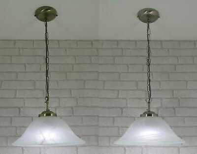 Murano Ceiling Light Pendant Fitting Antique Brass with Glass Shade