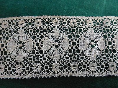 Antique Vintage 19c Lace Chemical Schiffli Bobbin off white Trim  12.75' x 2""