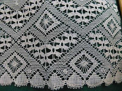 "Antique Vintage 19c Lace Chemical Schiffli Bobbin off white Trim 6.4' x 4"" NICE!"
