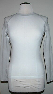 Patagonia Women's Biostretch 3 Crew Long Sleeve White and Light Grey Size XSmall