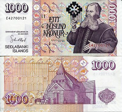 ICELAND 1000 Kronur Banknote World Paper Money UNC Currency Pick p-New 1 sign