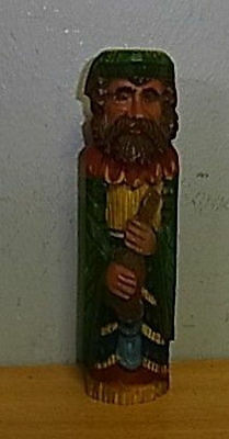 Vintage Wood Carved Musican Handpainted #AX