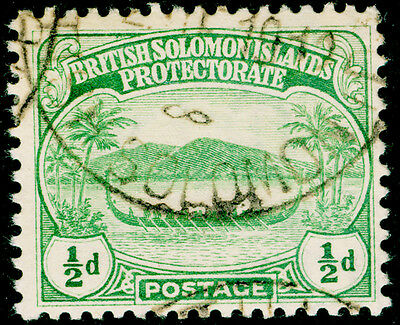 BRITISH SOLOMON ISLANDS SG8, ½d green, FINE USED, CDS.