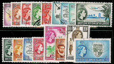 BRITISH SOLOMON ISLANDS SG82-96, COMPLETE SET, FINE USED, CDS. Cat £55.