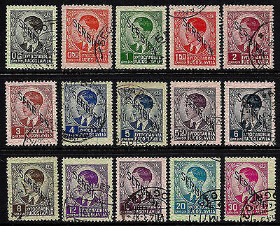 1941 German Occupied Serbia 1st Ovpt Set Sc#2N1-2N15 Mi#1-15 Used