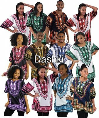 Men Dashik Top T Shirt African Boho Hippie Vintage Tribal Women Blouse Free Size
