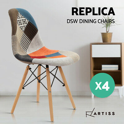 4 x Retro Replica Eames Eiffel DSW Dining Chairs Cafe Kitchen Beech Fabric