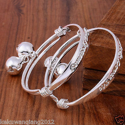 adjustable retro silver infant/baby children bracelet anklet bangle charm bell