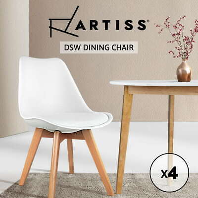 4 x Padded Retro Replica Eames Eiffel DSW Dining Chairs Cafe Kitchen White