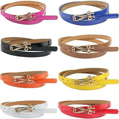 Fashion Women Lady Multicolor Waistband Leather Thin Skinny Belt Buckle Waist