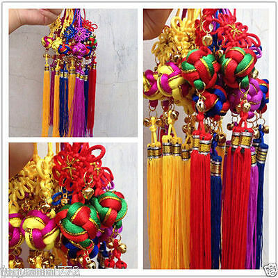 10PCS Chinese Lucky Chinese Knot Ball Bell Tassel Hanging Car Decor