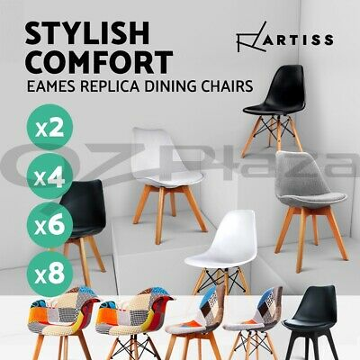 2 x Retro Replica Eames DSW Dining Chair DAW Armchair Padded Fabric ABS