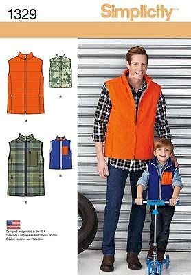 Simplicity Sewing Pattern Boys' & Mens Lined Unlined Vest Sizes S-L /s-Xl  1329