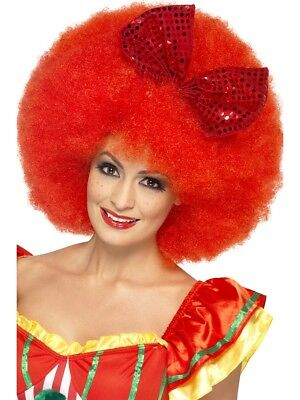 Red Large Afro Wig Ladies Clown Fancy Dress Wig With Sequin Bow