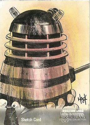 Dr Doctor Who Big Screen Additions Mono Sketch Card by Robert Hack of a Dalek