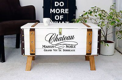 Shabby chic vintage pine trunk coffee table antique storage blanket box chest 1