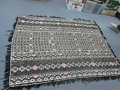 Vintage Hand-Woven Embroidered African Moroccan Wool Textile Rug South Africa