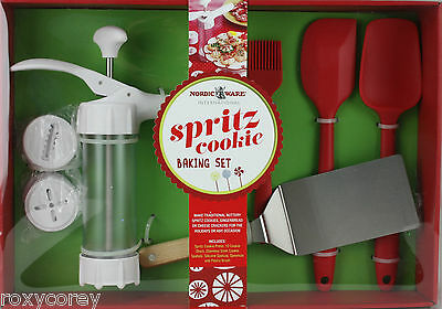 Christmas Holiday Nordic Ware Spritz Cookie Baking Set Press 12 Discs Spatula