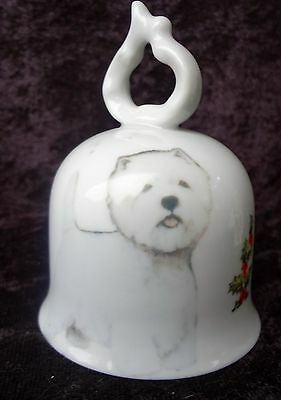 WEST HIGHLAND WHITE TERRIER WESTIE Hand Painted Porcelain Bell