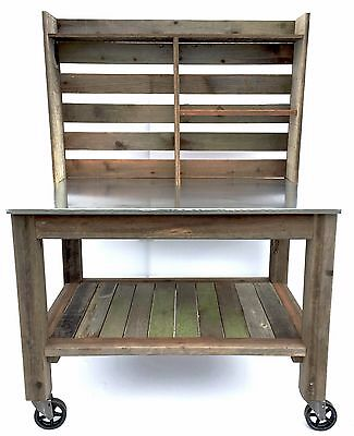 Handmade Redwood Buffet & Island Zinc Tabletop Garden Patio Table Indoor Outdoor