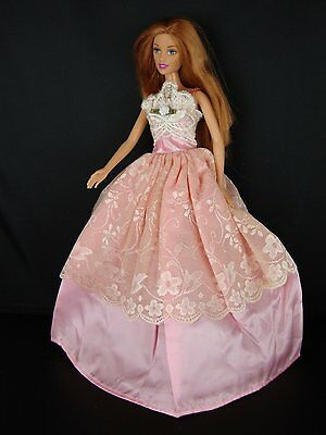 Pink Dress with White Lace Bodice and Lace on Front Only Made to Fit Barbie Doll