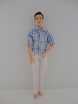 Ken 2 piece Outfit White Pants & Great Blue Plaid Shirt for Ken Doll
