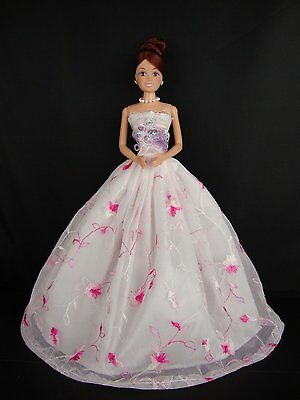 White and Pink Dress with Purple Accents on the Bodice Made to Fit Barbie Doll
