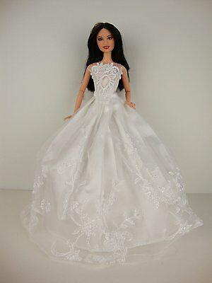 White Dreamy Wedding Dress with White Fur BoMade to Fit Barbie Doll