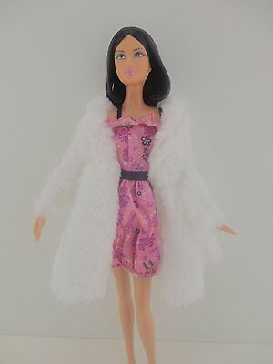 Stunning Short White Fur Coat and Hot Pink Mini Dress Made to Fit Barbie Doll