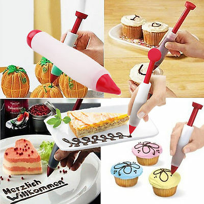 Silicone Plate Writing Pen Cookie Pastry Cream Chocolate Decorating Syringe New
