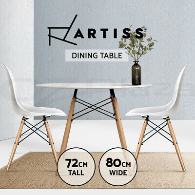 4-Seater Replica Eames DSW Eiffel Dining Table Kitchen Café Wooden White Round