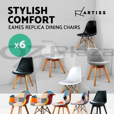 6 x Retro Replica Eames Eiffel DSW Dining Chair Armchair Beech Wood Fabric