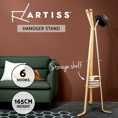 Coat Hanger Stand Rack Clothes Wooden Hat Jacket Bag Umbrella Hook Beige