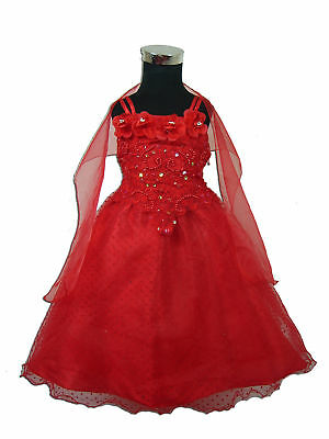 New Red Wedding/Party/Flower Girl Dress 12-18 Months+Shawl
