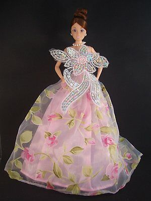 Pink Floral Themed Dress with Sequins At the Bust Made to Fit Barbie Doll