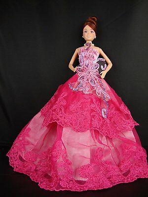 Solid Bright Pink Dress with Special Sequined Bodice Made to Fit Barbie Doll