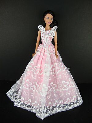 Pink Ball Gown with White Lace Treatment on the Bodice Made to Fit Barbie Doll
