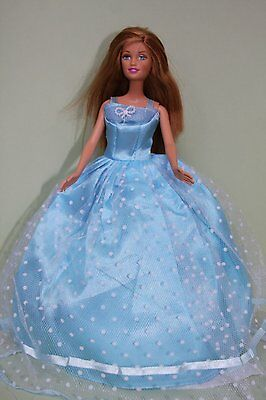 Light Blue Barbie Gown with Feather Boa
