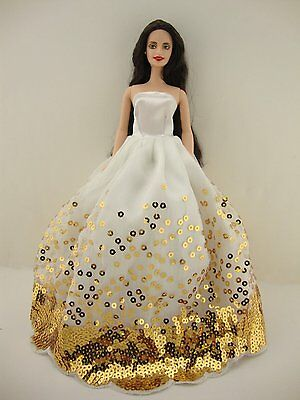 The Most Amazing White Dress with Lots of Gold Sequins Made to Fit Barbie Doll