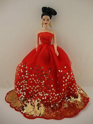The Most Amazing Red Dress with Lots of Gold Sequins Made to Fit Barbie Doll