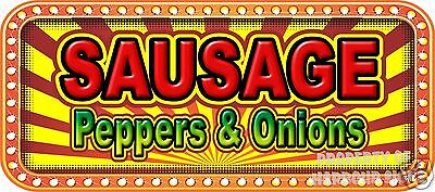"Sausage Peppers & Onions 18"" Decal Concession Lettering Food Truck Restaurant"