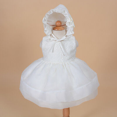 New Baby Christening Party Dress and Bonnet in Pink Ivory Red 0 3 6 12 18 24 M