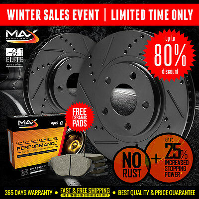 [FRONT] BLACK Slotted Drilled Rotors & Ceramic Pads Ford F150 Lincoln Mark LT
