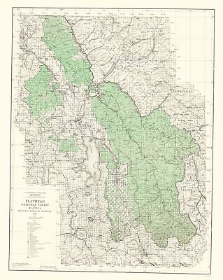 Topographical Map - Flathead National Forest Montana - USGS 1948 - 23 x 28.85