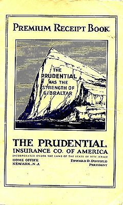 old PREMIUM RECEIPT BOOK the Prudential Newark NJ used