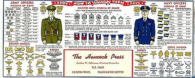 Old cardboard AMERICAN USA Military ARMY NAVY uniform recognition guide