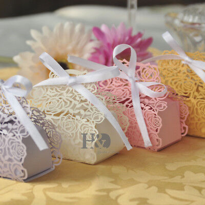 Rose Laser Cut Cake Candy Gift Boxes with Ribbon Wedding Favor Baby Shower Boxes