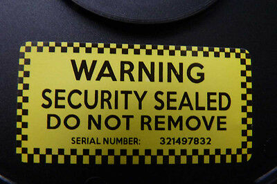 WARNING SECURITY STICKERS ultra destructible labels unique serials coloured 500