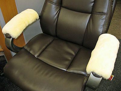 Medical Ivory Merino Sheepskin Armrest Covers Pad Scooter Office Wheel Chair Arm